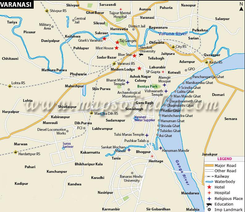Varanasi city map